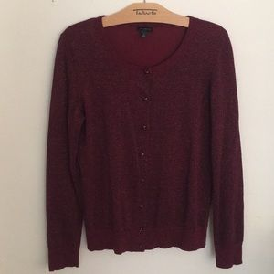 Talbots Wine-Colored Sparkly Cardigan